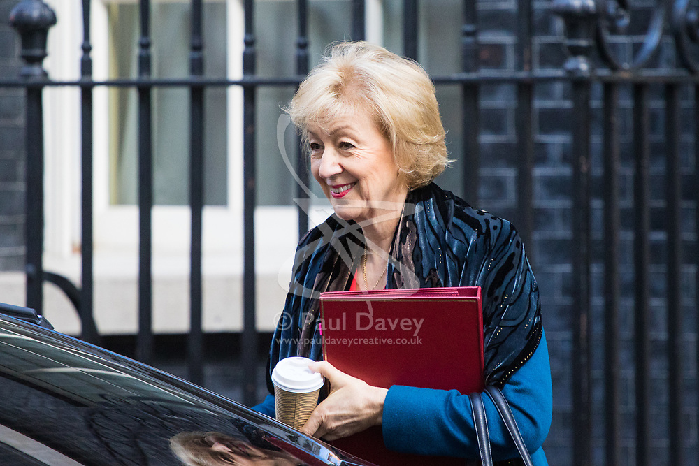 Downing Street, London, March 21st 2017. Environment, food and Rural Affairs Secretary Andrea Leadsom attends the weekly cabinet meeting at 10 Downing Street.