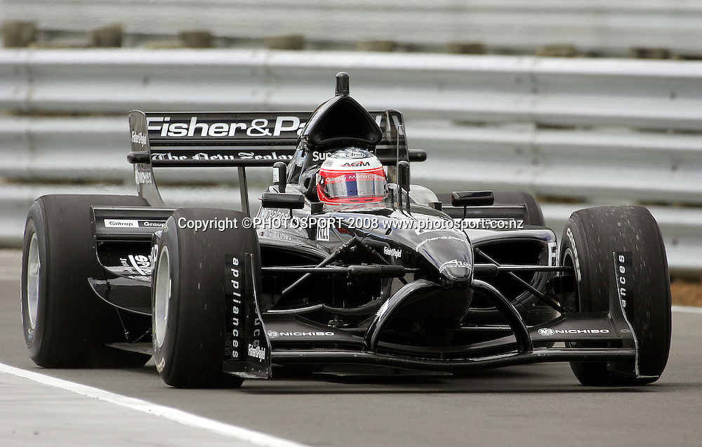 Team New Zealand's Jonny Reid and Black Beauty leave the pits.<br /> A1GP Qualifying Day. Taupo Motorsport Park, Taupo, New Zealand. Saturday, 19 January 2008. Photo: Dave Lintott/PHOTOSPORT
