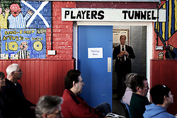 "© London News Pictures. ""Looking for Nigel"". A body of work by photographer Mary Turner, studying UKIP leader Nigel Farage and his followers throughout the 2015 election campaign. PICTURE SHOWS - Nigel Farage waits in the hallway of the St Luke's Community Centre in Ramsgate, before going out to speak at a public meeting in the venue in Kent, on April 18th 2015. The local centre was typical of the small and traditional venues that UKIP chose throughout his campaign to appeal to his audience's sense of 'Britishness'. . Photo credit: Mary Turner/LNP **PLEASE CALL TO ARRANGE FEE** **More images available on request**"