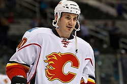 March 23, 2011; San Jose, CA, USA;  Calgary Flames left wing Curtis Glencross (20) warms up before the game against the San Jose Sharks at HP Pavilion. San Jose defeated Calgary 6-3. Mandatory Credit: Jason O. Watson / US PRESSWIRE