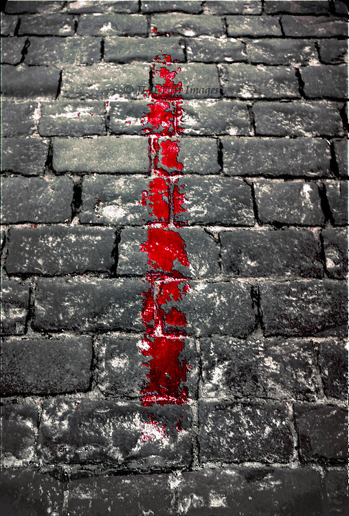 Red position line painted on the cobbles of Red Square, Moscow.
