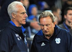Ipswich Town manager Mick McCarthy talks to Cardiff City manager Neil Warnock before kick-off - Mandatory by-line: Nizaam Jones/JMP - 31/10/2017 -  FOOTBALL - Cardiff City Stadium- Cardiff, Wales -  Cardiff City v Ipswich  Town- Sky Bet Championship