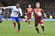 Bradford City Forward, Billy Clarke on the ball looking to break during the The FA Cup third round match between Bury and Bradford City at Gigg Lane, Bury, England on 9 January 2016. Photo by Mark Pollitt.