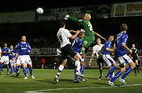 Photo: Rich Eaton.<br /> <br /> Hereford United v Leicester City. Carling Cup. 19/09/2006. Leicester goalkeeper Conrad Logan punches clear a free kick