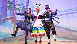 Hackney Empire Theatre, London, November 25th 2015.  Hackney Empire presents Jack and the Beanstalk as their 2015 Christmas pantomime. London's most famous panto will star Hackney Empire's own Olivier nominated dame Clive Rowe as Dame Daisy Trott, Olivier Award-nominated Bodyguard actress Debbie Kurup as Jack and Hackney Panto favourite Kat B as Snowman. Written and directed by Creative Director Susie McKenna, with music by Steven Edis. PICTURED: L-R Jocelyn Jee Esien as Stomach Bug, Clive Rowe as Dame Daisy Trott and Tony Timberlake as Nasty Bug.