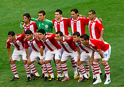 Team of Paraguay during the 2010 FIFA World Cup South Africa Round of Sixteen football match between Paraguay and Japan on June 29, 2010 at Loftus Versfeld Stadium in Tshwane/Pretoria. (Photo by Vid Ponikvar / Sportida)