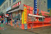 Venice beach, CA, Pizza Fast Food, Ocean, Front, Walk, Boardwalk, sidewalk, Enhanced digital Image, Computer CGI, sunny, day, people,  sun, north, america, los angeles, california, usa, united, states, usa, pacific, ocean,