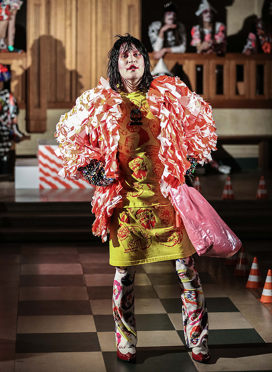 Noel Fielding walks the Catwalk at Dutch designer Bas Koster at The Dutch Centre Austin Friars in the City Of London  on  day 2 of London Fashion Week February 15 2014.<br /> <br /> <br /> Photo by Ki Price