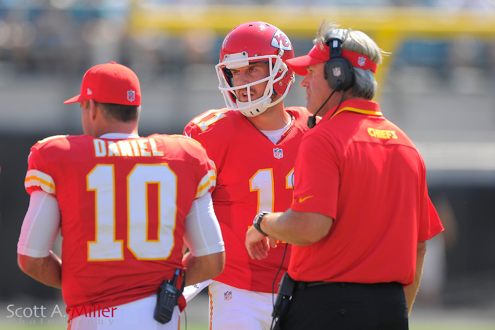 Kansas City Chiefs quarterback Alex Smith (11), quarterback Chase Daniel (10) and Offensive Coordinator Doug Pederson during the Chiefs 28-2 win over the Jacksonville Jaguars at EverBank Field on Sept. 8, 2013 in Jacksonville, Florida. The <br /> <br /> &copy;2013 Scott A. Miller