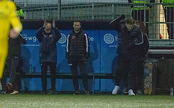 Stenhousemuir bench at the final whistle. Stenhousemuir 4 v 2 Falkirk, 3rd Round of the William Hill Scottish Cup played 24/11/2018 at Ochilview Park, Larbert.