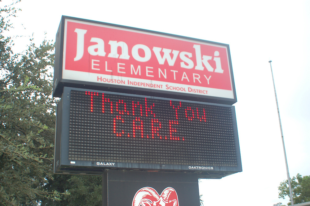 Chinese American Relief Effort gave away school supplies to Janowski Elementary Students.