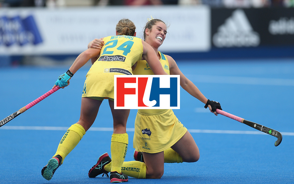 LONDON, ENGLAND - JUNE 19:  Grace Stewart of Australia celebrates scoring their third goal during the FIH Women's Hockey Champions Trophy match between Australia and New Zealand at Queen Elizabeth Olympic Park on June 19, 2016 in London, England.  (Photo by Alex Morton/Getty Images)