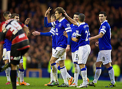LIVERPOOL, ENGLAND - Saturday, January 4, 2014: Everton's Nikica Jelavic celebrates scoring the second goal against Queens Park Rangers during the FA Cup 3rd Round match at Goodison Park. (Pic by David Rawcliffe/Propaganda)