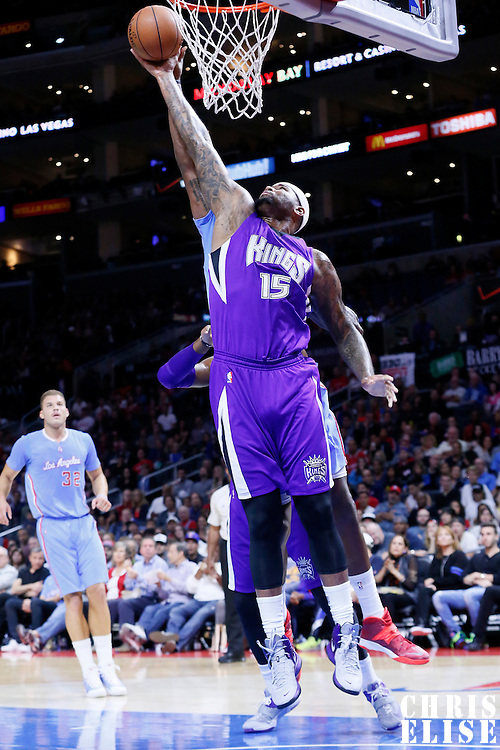 02 November 2014: Sacramento Kings center DeMarcus Cousins (15) grabs the rebound during the Sacramento Kings 98-92 victory over the Los Angeles Clippers, at the Staples Center, Los Angeles, California, USA.