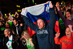 September 17, 2017 - Ljubljana, Slovenia, Slovenia - Fans celebrating in Ljubljana, Slovania, on September 17, 2017 after Slovenian basketball team historical win in European Championship in Istanbul on September 17, 2017 in Ljubljana, Slovenia. (Credit Image: © Damjan Zibert/NurPhoto via ZUMA Press)