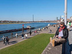 View beside River Rhine in Dusseldorf Germany