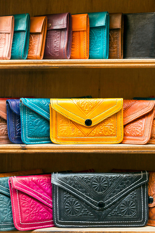 FEZ, MOROCCO - 3rd DECEMBER 2016 - Colourful leather purses and wallets for sale in the souks of the Fez Medina, Middle Atlas Mountains, Morocco.
