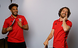 CARDIFF, WALES - Wednesday, June 7, 2017: Wales' captain Ashley Williams and Joe Allen during a photoshoot for Vauxhall at the Vale Resort. (Pic by David Rawcliffe/Propaganda)