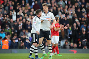 Fulham striker, Matt Smith (09) celebrating scoring with Fulham Striker, Ross McCormack (44) 1-2 during the Sky Bet Championship match between Fulham and Nottingham Forest at Craven Cottage, London, England on 23 April 2016. Photo by Matthew Redman.