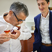 Lead buyer Dominique Metoyer at Martell Cognac, the region's oldest great house, cuddles an eau-de-vie from grower Joel Antier's father, while maitre-de-chai Christophe Valtaud looks on. Martell works with 1,200 suppliers across the Cognac region and supplies its luxury spirits around the world, especially in the USA and China.In 1715, Jean Martell, a young merchant originally from Jersey, created his own trading business at Gatebourse in Cognac, on the banks of the Charente River, and thus founded one of the very first cognac houses. Martell used grapes from the vineyards in the Borderies subregion, and used Tronçais oak for its casks, this made a combination that resulted in an exceptionally smooth cognac.