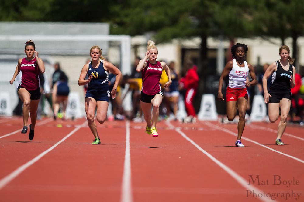 Women's 100 meters at the NJAC Track and Field Championships at Richard Wacker Stadium on the campus of  Rowan University  in Glassboro, NJ on Sunday May 5, 2013. (photo / Mat Boyle)
