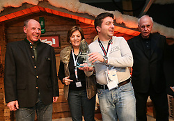 07.02.2013, Tirolberg, Schladming, AUT, FIS Weltmeisterschaften Ski Alpin, AIPS Night, im Bild Harti Weirather (Abfahrtsweltmeister 1982),  Olga Scartezzini (Olympiasiegerin), Urban Laurencic for Miha Zibrat (SLO), Michael Kuhn (AIPS Austria) // at the AIPS Night during FIS Ski World Championships 2013 at the Tirolberg, Schladming, Austria on 2013/02/07. EXPA Pictures © 2013, PhotoCredit: EXPA/ Johann Groder