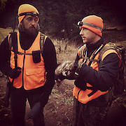 Daybreak. Ben Mitchell (right) offers up a game plan for the morning hunt. Ben grew up hunting deer in the forests of Michigan state, now he is an avid pursuer of elk and a steadfast member of our small group.