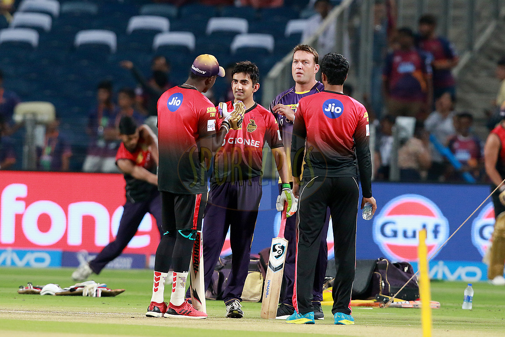 Gautam Gambhir captain of KKR and Jacques Kallis coach of KKR before match 30 of the Vivo 2017 Indian Premier League between the Rising Pune Supergiants and the Kolkata Knight Riders  held at the MCA Pune International Cricket Stadium in Pune, India on the 26th April 2017<br /> <br /> Photo by Rahul Gulati - Sportzpics - IPL