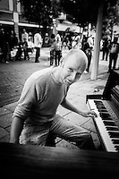 Hull's Freedom Festival 2013, Saturday 7, September 2013, Hull, East Yorkshire UK. Pictured: Piano Busker