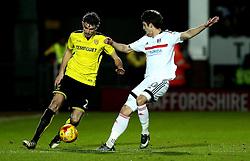 Tom Flanagan of Burton Albion takes on Lucas Piazon of Fulham - Mandatory by-line: Robbie Stephenson/JMP - 01/02/2017 - FOOTBALL - Pirelli Stadium - Burton Upon Trent, England - Burton Albion v Fulham - Sky Bet Championship