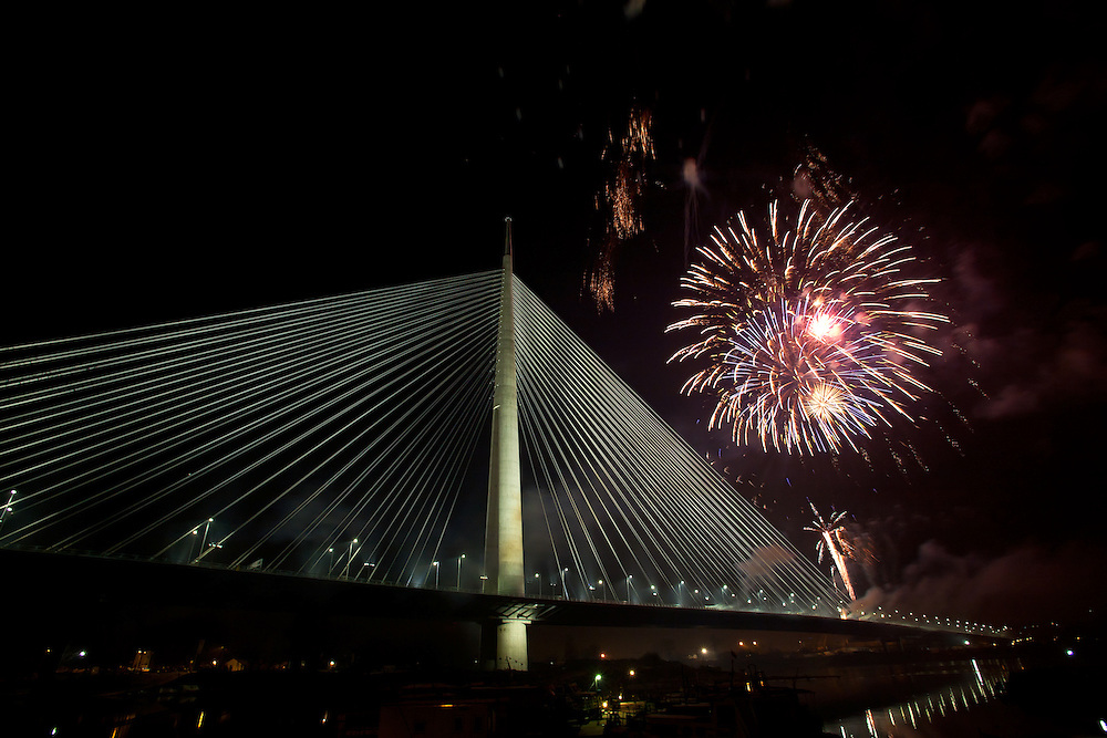 The Bridge over the River Sava, also known as the Bridge over Ada, opens to the public on New Year's Eve, 1/1/12. Belgrade, Serbia