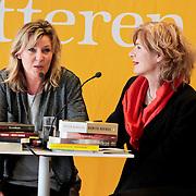 NLD/Amsterdam/20120310 - Feest der Letteren 2012 , Mieke van der Weij in gesprek met Saskia Noort