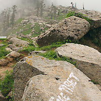 """Free Tibet"" graffitti on the mountain in Triund, outside McLeod Ganj, Dharamsala, India. 7/30/05."