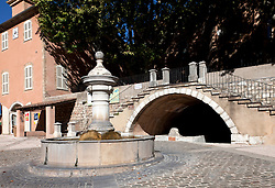 Fontaine de la Burliere, constructed in 1844, is one of more than 40 man-made fountains in Barjols.  Barjols in the Var region of southern France is noted for its numerous fountains, wash houses, and old tanneries, a town shaped by water since Roman times.