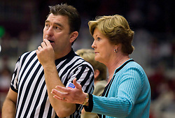 December 19, 2009; Stanford, CA, USA;  Tennessee Lady Volunteers head coach Pat Summitt talks with official Michael Price during the first half against the Stanford Cardinal at Maples Pavilion. Stanford defeated Tennessee 67-52.