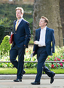 © Licensed to London News Pictures. 08/04/2014. London, UK Deputy Prime Minister Nick Clegg (L) and David Laws, Minister of State for Schools arrive at the Cabinet Meeting 8th April 2014. Photo credit : Stephen Simpson/LNP