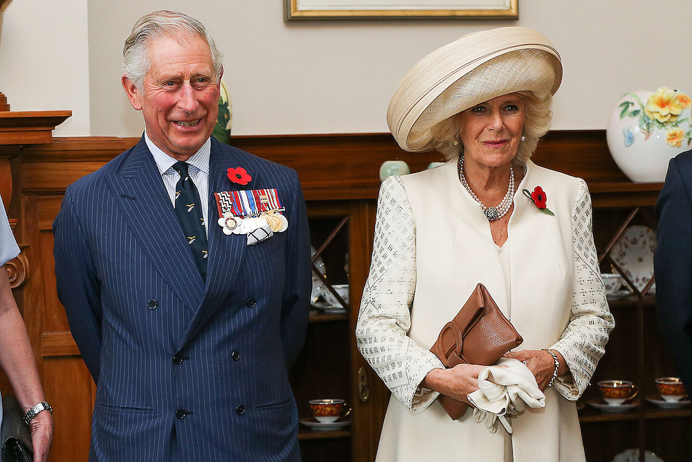 Prince Charles, Prince of Wales, left and Camilla, Duchess of Cornwall, look on prior to the Prince of Wales receiving his new Military Warrants at Government House, Wellington, New Zealand, Wednesday, November 04, 2015 Wellington, New Zealand, Wednesday, November 04, 2015. Credit:SNPA / Getty, Hagen Hopkins **POOL**