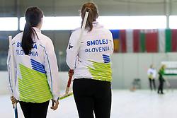 Nika Svetina and Ana Smolej of Slovenia during curling match between National teams of Slovenia and Lithuania in 6th Round of European Curling Championship on April 29, 2016 in Ledena dvorana Zalog, Ljubljana, Slovenia. Photo By Urban Urbanc / Sportida