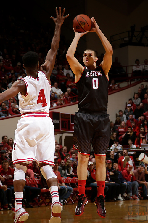 Eastern Washington forward Ognjen Miljkovic (0) as Eastern Washington played Indiana in an NCAA college basketball game in Bloomington, Ind., Monday, Nov. 24, 2014. (AJ Mast)