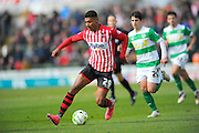 Exeter City's Ollie Watkins on another attack during the Sky Bet League 2 match between Yeovil Town and Exeter City at Huish Park, Yeovil, England on 9 April 2016. Photo by Graham Hunt.