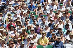&copy; Licensed to London News Pictures. 02/07/2018. London, UK. Spectators watch centre court tennis in the sweltering heat at the Wimbledon Tennis Championships 2018 <br /> . Photo credit: Ray Tang/LNP