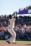 San Francisco Giants left fielder Angel Pagan (16) celebrates a home run against the Los Angeles Dodgers at AT&T Park in San Francisco, Calif., on October 1, 2016. (Stan Olszewski/Special to S.F. Examiner)