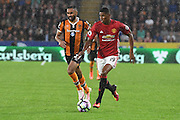 Manchester United player Marcus Rashford (19) and Hull City midfielder Ahmed Elmohamady (27)  during the Premier League match between Hull City and Manchester United at the KCOM Stadium, Kingston upon Hull, England on 27 August 2016. Photo by Ian Lyall.
