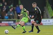 Forest Green Rovers Carl Winchester(7) passes the ball forward during the EFL Sky Bet League 2 match between Forest Green Rovers and Plymouth Argyle at the New Lawn, Forest Green, United Kingdom on 16 November 2019.