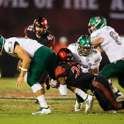 22 September 2018: San Diego State Aztecs cornerback Darren Hall (23) sacks Eastern Michigan Eagles quarterback Tyler Wiegers (12) in the second quarter. The San Diego State Aztecs beat the Eastern Michigan Eagles 23-20 in over time at SDCCU Stadium in San Diego, California.