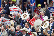 GOP delegates cheer Pastor Mark Burns as he addresses  the final day of the Republican National Convention July 21, 2016 in Cleveland, Ohio.