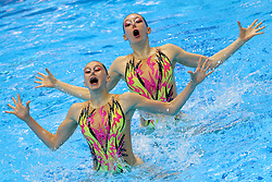 "May 10, 2019 - Saint Petersburg, Russia - The Italy team compete in the Duet Free Preliminary during of the European Artistic ""Synchronised"" Swimming Champions Cup 2019 on May 10, 2019, in St.Petersburg, Russia  (Credit Image: © Igor Russak/NurPhoto via ZUMA Press)"