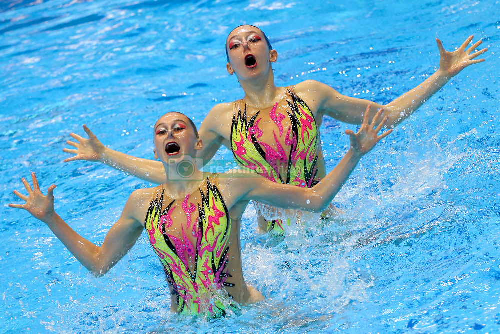 """May 10, 2019 - Saint Petersburg, Russia - The Italy team compete in the Duet Free Preliminary during of the European Artistic """"Synchronised"""" Swimming Champions Cup 2019 on May 10, 2019, in St.Petersburg, Russia  (Credit Image: © Igor Russak/NurPhoto via ZUMA Press)"""