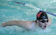 Waltham High School senior Arthur Papazian competes in the 100 yard butterfly during the DCL meet at Atkinson Pool in Sudbury, Jan. 31, 2015.   (Wicked Local Photo/James Jesson)