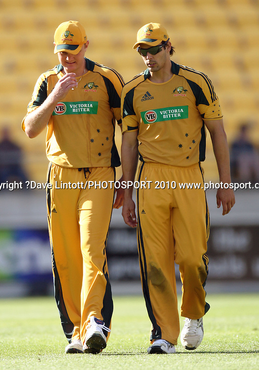 Australian bowlers Doug Bollinger and Mitchell Johnson.<br /> Fifth Chappell-Hadlee Trophy one-day international cricket match - New Zealand v Australia at Westpac Stadium, Wellington. Saturday, 13 March 2010. Photo: Dave Lintott/PHOTOSPORT